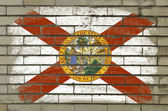 Grunge flag of US state of florida on brick wall painted with ch — Stock Photo