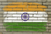 Grunge flag of india on brick wall painted with chalk — Stock Photo