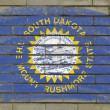 Grunge flag of US state of south dakota on brick wall painted wi — Stock Photo