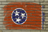 Grunge flag of US state of tennessee on brick wall painted with — Stock Photo