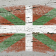 Flag of basque on grunge wooden texture precise painted with cha — Stock Photo