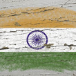 Flag of india on grunge wooden texture precise painted with chal — Stock Photo