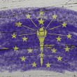 Flag of US state of indiana on grunge wooden texture precise pai — Stock Photo