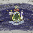 Flag of US state of maine on grunge wooden texture precise paint - Stock Photo