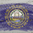 Flag of US state of new hampshire on grunge wooden texture preci — Stock Photo