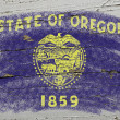 Flag of US state of oregon on grunge wooden texture precise pain — Stock Photo #8778006