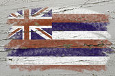 Flag of US state of hawaii on grunge wooden texture precise pain — Stock Photo