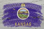 Flag of US state of kansas on grunge wooden texture precise pain — Stock Photo