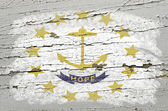 Flag of US state of rhode island on grunge wooden texture precis — Stock Photo
