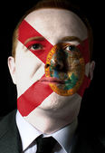 Us state of florida flag painted face of businessman or politici — Stock Photo