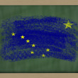 Flag of us state of alaska on blackboard painted with chalk — Stock Photo