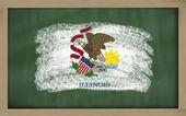 Vlajka z nás stát illinois na tabule s křídou — Stock fotografie
