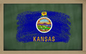 Flag of us state of kansas on blackboard painted with chalk — Stock Photo