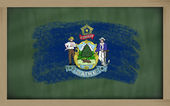 Flag of us state of maine on blackboard painted with chalk — Stock Photo