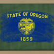 Flag of us state of oregon on blackboard painted with chalk — Stock Photo