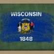 Flag of us state of wisconsin on blackboard painted with chalk — Stock Photo