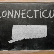 Royalty-Free Stock Photo: Outline map of us state of connecticut on blackboard