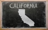 Delinear o mapa de nós estado da califórnia, no quadro-negro — Foto Stock