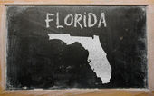 Outline map of us state of florida on blackboard — Stock Photo