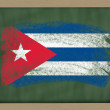 Stock Photo: National flag of cuba on blackboard painted with chalk