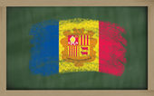 National flag of andorra on blackboard painted with chalk — Stock Photo