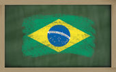 National flag of brazil on blackboard painted with chalk — Stock Photo