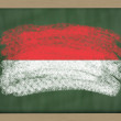 National flag of indonesia on blackboard painted with chalk — Stock Photo
