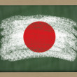 National flag of japan on blackboard painted with chalk — Stock Photo
