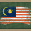 National flag of malaysia on blackboard painted with chalk — Stock Photo