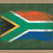 Royalty-Free Stock Photo: National flag of south africa on blackboard painted with chalk