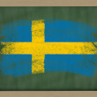 National flag of sweden on blackboard painted with chalk — Stock Photo