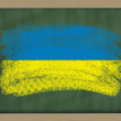 National flag of ukraine on blackboard painted with chalk — Stock Photo
