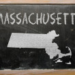 Photo: Outline map of us state of massachusetts on blackboard