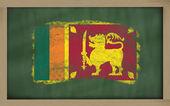 Nationale vlag van srilanka op blackboard geschilderd met krijt — Stockfoto