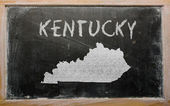 Outline map of us state of kentucky on blackboard — Stok fotoğraf