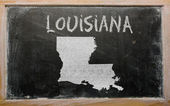 Outline map of us state of louisiana on blackboard — Stok fotoğraf