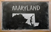 Outline map of us state of maryland on blackboard — Stock Photo