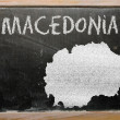Outline map of macedonia on blackboard — Zdjęcie stockowe