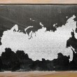 Royalty-Free Stock Photo: Outline map of russia on blackboard
