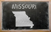 Delinear o mapa de nós estado de missouri, no quadro-negro — Foto Stock