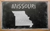 密苏里州黑板上概述我们的地图 — 图库照片