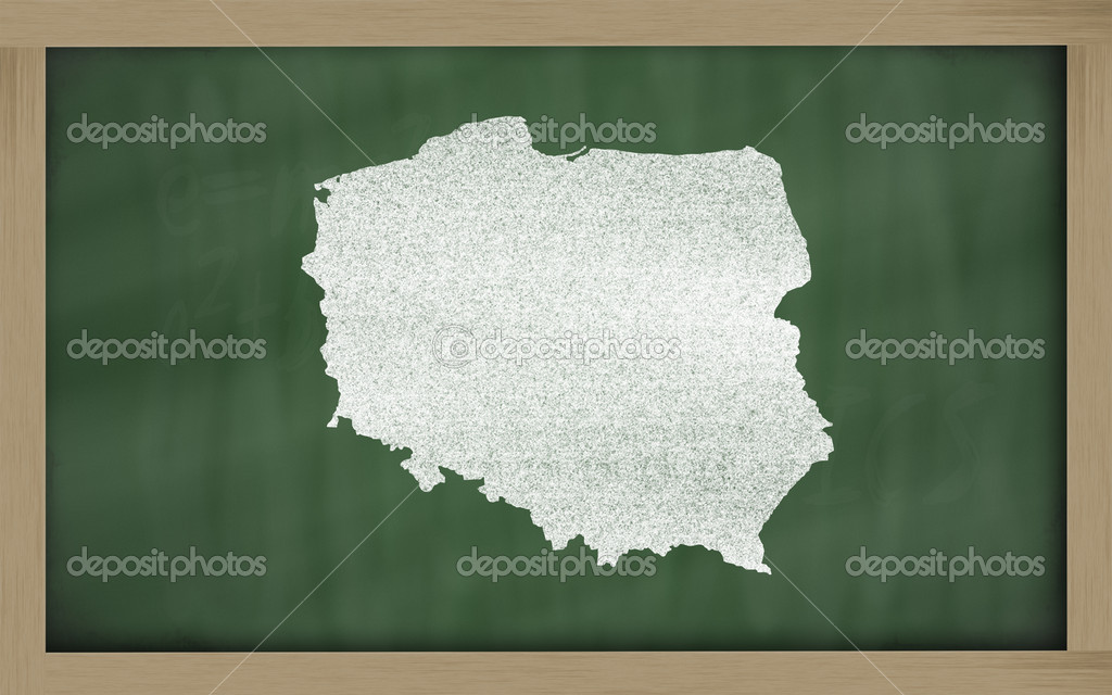 Drawing of poland on chalkboard, drawn by chalk — Stock Photo #8875347