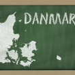 Outline map of denmark on blackboard — Foto de Stock