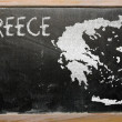 Outline map of greece on blackboard - Foto de Stock
