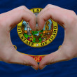Stock Photo: Over americstate flag of idaho showed heart and love gesture