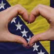 Over national flag of bosniherzegovinshowed heart and love g — Stock Photo #9009538