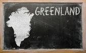 Konturkarta över grönland på blackboard — Stockfoto