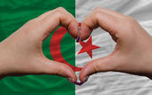 Over national flag of algeria showed heart and love gesture made — Stock Photo