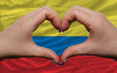 Over national flag of colombia showed heart and love gesture mad — Stock Photo