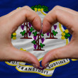 Stock Photo: Over americstate flag of connecticut showed heart and love ge